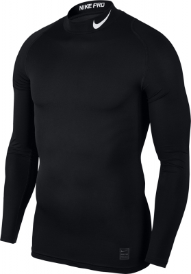 Nike Top Compression Mock Herren Langarm Top schwarz-weiß